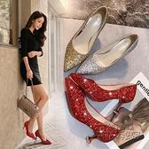 2020新款孕婦婚鞋女紅色水晶鞋結婚鞋子新娘鞋高跟鞋婚紗伴娘單鞋 雙十二全館免運