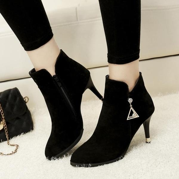 馬丁靴女2019新款冬季百搭英倫短靴子女加絨面裸靴細跟高跟鞋帶鉆