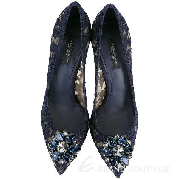 DOLCE & GABBANA Taormina鑽飾花朵蕾絲高跟鞋(藍色) 1630315-34