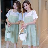 現貨 孕婦夏裝短袖連衣裙2019夏季新款韓版寬鬆上衣中長款假兩件吊帶裙 洋裝