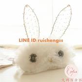立體蕾絲串珠裝扮褶皺蕾絲兔子遮光睡眠眼罩【大碼百分百】