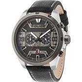 【台南 時代鐘錶 POLICE】義式潮流 復古刷痕文青風格時尚腕錶 15365JSTU-02 皮帶 黑灰 50mm