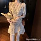 洋裝 雪紡連身裙女夏裝2021新款氣質V領泡泡短袖法式甜美碎花A字短裙子 開春特惠