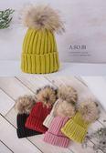 A-SO-BI韓系-彩虹色系大毛球粗坑條紋路編織毛帽【B10430-14】