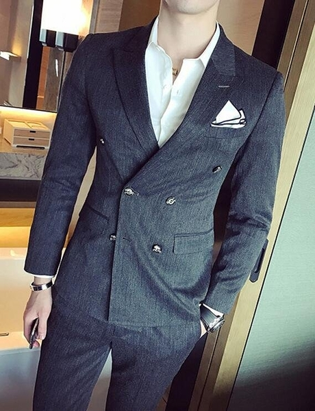 找到自己品牌 韓國男 經典雙排扣 西裝 修身西裝 西裝外套 單件外套