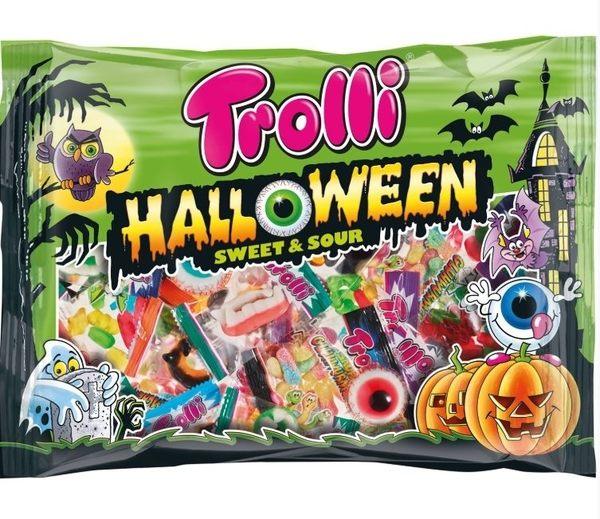 【德潮購】德國Trolli 萬聖節軟糖分享包 眼球/黑蜘蛛/蟲/骷髏頭/水果熊/綜合包. 450G 約28包