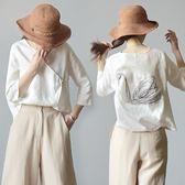 茶服 中國風女裝中式復古唐裝夏新款棉麻刺繡上衣女禪意茶服襯衣女 曼慕衣櫃