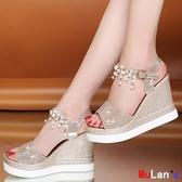 伊人閣 楔形涼鞋 高跟 坡跟涼鞋 防水臺 鬆糕厚底 增高涼鞋