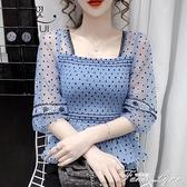 蕾絲雪紡衫女中袖上衣七分袖鏤空網紗超仙小衫氣質韓版寬鬆娃娃衫 范思蓮恩