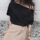 一字肩上衣女2021新款網紅斜肩露肩夏季短袖寬鬆性感氣質時尚T恤 果果輕時尚