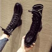 馬丁靴休閒時尚馬丁靴女新款秋季網紅百搭粗跟學院風襪靴機車短靴潮新品