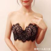 無肩帶內衣聚攏防滑上托文胸婚紗蕾絲隱形胸罩性感禮服抹胸式胸貼