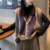 針織馬甲女寬鬆外穿復古V領無袖毛衣馬夾背心外套【小酒窩服飾】