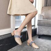 單鞋 瑪麗珍復古奶奶鞋一字扣蝴蝶結粗跟韓版中跟高跟單鞋女方頭夏百搭    coco衣巷