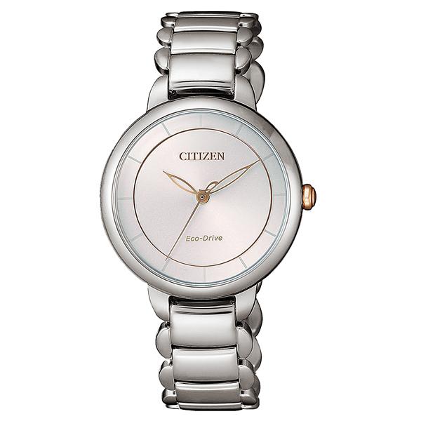 CITIZEN L 光動能時光螺旋女腕錶-EM0676-85X