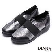 DIANA 輕。愛的--璀燦星芒極修飾寬繞帶休閒鞋-銀x黑★特價商品恕不能換貨★