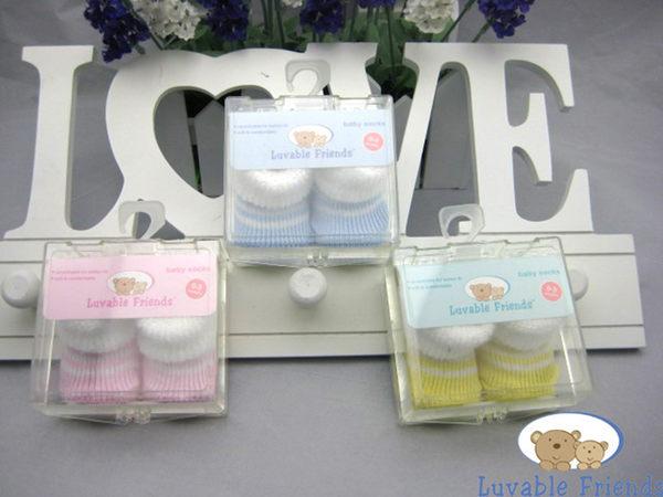 [Mamae] 美國 Luvable Friends 0-3M初生嬰兒必備套裝組 素色棉質寶寶襪子  出生彌月送禮週歲禮盒