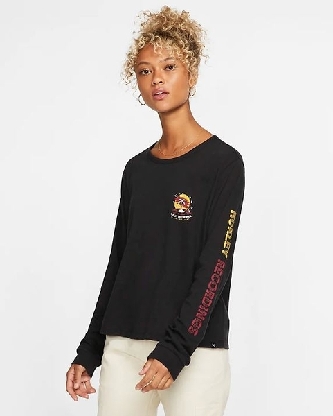 HURLEY|女 W RECORD PALMS PERFECT LS BLACK 長袖T恤-黑