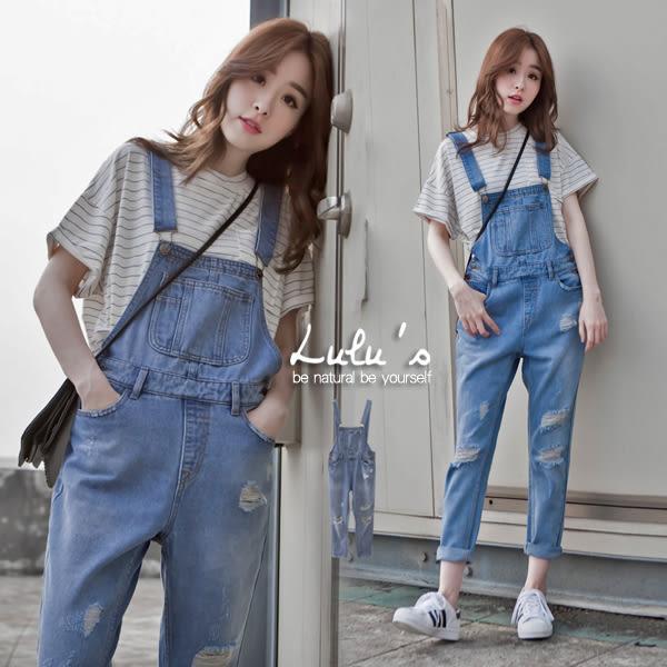 LULUS-P側雙釦大口袋褲管抓破吊帶褲S-L-藍  現+預【04090452】