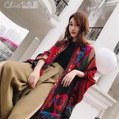 絲巾 絲巾女士春季民族風空調披肩圍巾兩用海邊沙灘巾防曬紗巾「Chic七色堇」