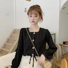 方領上衣 春秋季鎖骨泡泡袖方領短款上衣女設計感新款法式黑色長袖襯衫-Ballet朵朵