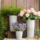 復古鐵皮桶干花花瓶做舊美式花店鮮花桶鐵藝花盆【小獅子】