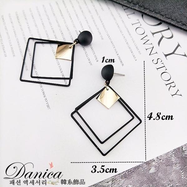 耳環 現貨 韓國冷淡風幾何菱形磨砂垂墜個性百搭耳針 夾式耳環 S92932 批發價 Danica 韓系飾品