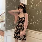 碎花洋裝 大碼法式復古碎花雪紡連身裙女夏氣質收腰顯瘦吊帶裙-Ballet朵朵