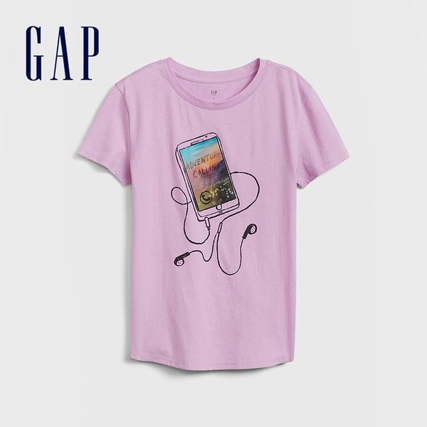 Gap 女童 創意亮片裝飾短袖T恤 577839-紫色