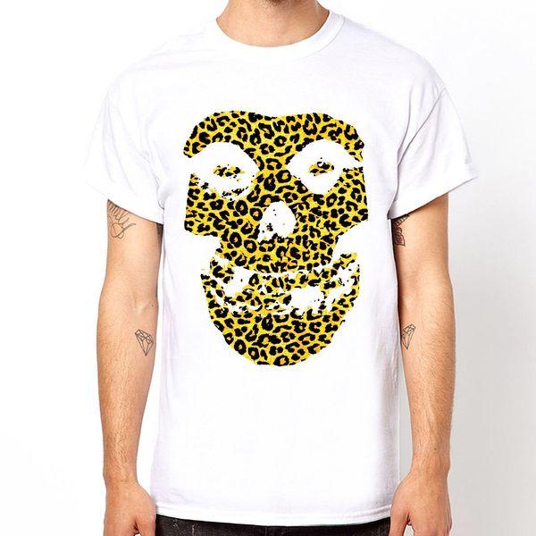 Misfits Skull-leopard短袖T恤-白色 豹紋骷髏搖滾設計插畫裸女潮流情色樂團玩翻punk 390