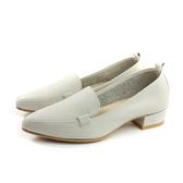 HUMAN PEACE 休閒鞋 尖頭 粗低跟 米色 荔枝紋 女鞋 PW1284A no654