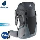 【Deuter 德國 FUTURA 24SL 透氣網架背包《黑/水藍》】3400521/輕量登山包/自行車背包/健行包