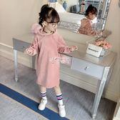 洋裝 女童秋裝新款韓版兒童裝金絲絨加厚裙子長袖連身裙連帽衛衣裙 俏腳丫