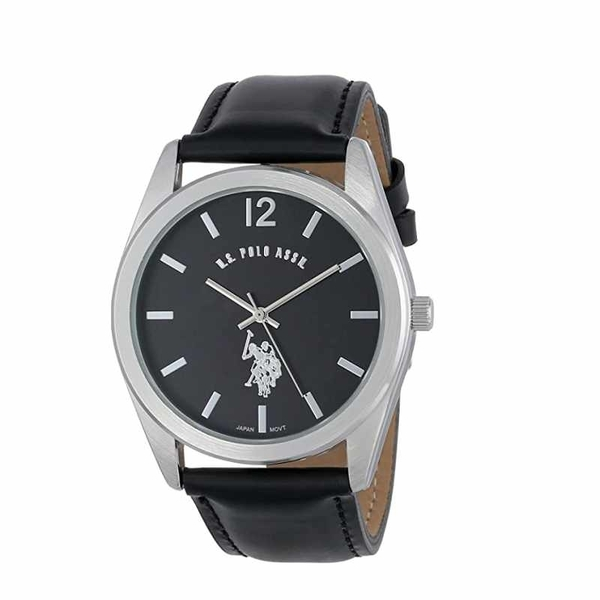 U.S. Polo Assn 男錶 Classic Men s USC50005 Silver-Tone Watch with Black Genuine Leather Band [2美國直購]