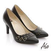 A.S.O 減壓美型 全真皮多條帶金屬高跟鞋 黑色