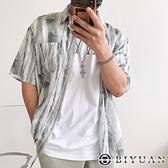 【OBIYUAN】襯衫外套 海灘風 水墨渲染 寬鬆 短袖襯衫【W661】