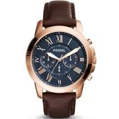 【台南 時代鐘錶 FOSSIL】FS5068IE 羅馬時標三眼計時運動腕錶 皮帶 玫瑰金 44mm