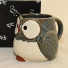 貓頭鷹 陶瓷馬克杯 日本製造 藍墨色