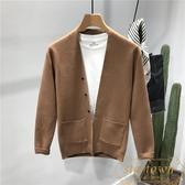 男士韓版針織開衫外穿潮流純色毛衣外套【繁星小鎮】