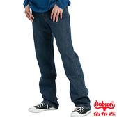 BOBSON 男款嘻哈酷中直筒牛仔褲(中藍77)