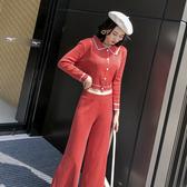 超殺29折 韓系氣質娃娃領修身寬口褲套裝長袖褲裝