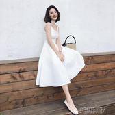 禮服露肩長裙吊帶連身裙氣質白色裙  創想數位igo