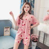 睡衣日式和服短袖睡衣女夏季甜美可愛清新學生可外穿夏天兩件套裝 伊蒂斯女裝
