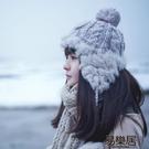 毛帽冬天女式帽子毛線針織保暖帽...