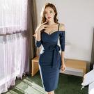 VK精品服飾 韓系氣質時尚露肩修身包臀中袖開叉長袖洋裝