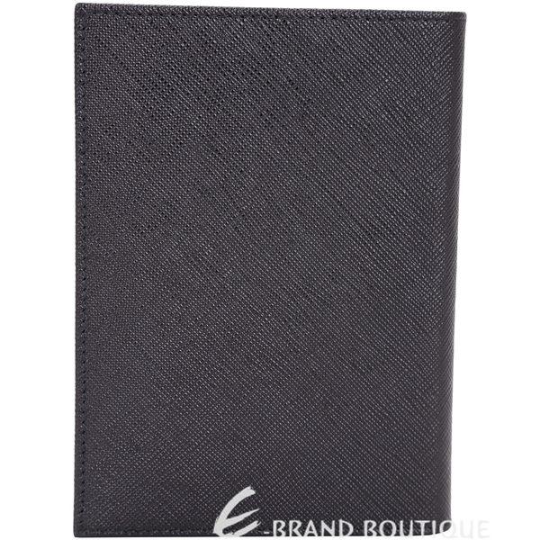 PRADA Saffiano 人形金屬設計防刮牛皮護照夾(黑色) 1710829-01