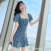 2021夏季新款國潮復古改良旗袍裙碎花氣質短裙方領百搭印花洋裝 美眉新品
