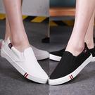 【出清下殺】【8828】純色透氣韓版潮流低底帆布鞋(黑白2款)