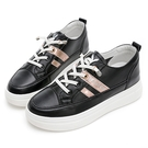 PLAYBOY 經典風範 輕量增高休閒鞋-黑金(Y7285)