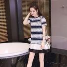 蕾絲洋裝-條紋鏤空時尚優雅女連身裙2色73hd5【時尚巴黎】
